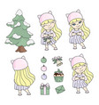 girl christmas set new year color vector image vector image