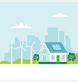 green energy with a house solar vector image
