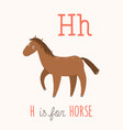 h letter tracing horse cute children farm vector image vector image