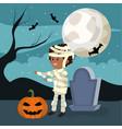 halloween and boy vector image vector image