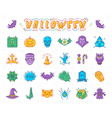 halloween icon set isolated colorful vector image vector image