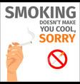 hand and no smoking sign poster vector image