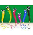 Happy cartoon pencils vector image