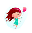 happy little girl with pink vector image vector image