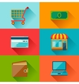 Internet shopping icons in flat design style vector image vector image