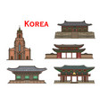 korean travel landmarks ancient buildings vector image