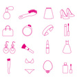 lady stuff needs simple outline icons set eps10 vector image