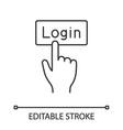 login button click linear icon vector image vector image