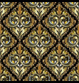 luxury 3d baroque damask seamless pattern ornate vector image vector image