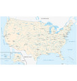 map united states with major cities and rivers vector image