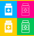 medical container sign four styles of icon on vector image