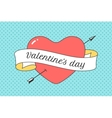 Old ribbon with message Valentine Day red heart vector image vector image