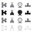 pipe and tube icon set vector image vector image