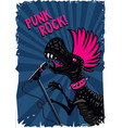 punk dinosaur with a microphone rock music poster vector image vector image