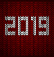 red knitted fabric with the inscription 2019 vector image