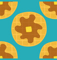 seamless pattern of waffles with syrup and butter vector image vector image