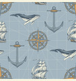 seamless pattern on travel theme in vintage vector image vector image