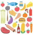 set of colorful cartoon fast food scandinavian vector image vector image