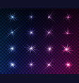 set of glowing light effects sparkles shining vector image vector image