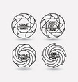 set of monochrome logo abstract circular symbols vector image