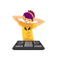 smiling dj with colored hair playing music on vector image