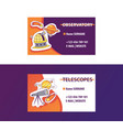 space science business card for observatory or vector image vector image