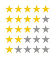 stars rating five star rate design in flat style vector image vector image
