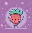 strawberry cute fruits cartoons vector image vector image