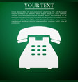 telephone icon on green background landline phone vector image vector image