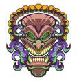 tiki traditional hawaiian tribal mask with human vector image vector image