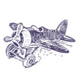 toy plane hand drawn vector image