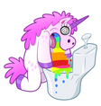 Unicorn pukes rainbow in the toilet vector image vector image