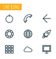 user icons line style set with button earth vector image
