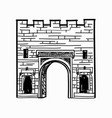arch gates in fortress wall castle doorway retro vector image