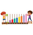 a boy playing with abacus vector image vector image