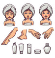 beauty skin care and body treatment skin vector image