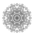 Black floral mandala with hearts vector image