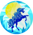 blue unicorn and yellow sun on a blue background vector image vector image