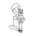 boy with cute cat vector image vector image