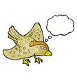 cartoon garden bird with thought bubble vector image vector image