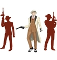Caucasian mafioso godfather with crew silhouettes vector image vector image