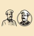 chef sketch restaurant emblem food concept vector image vector image