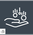 coin in hand thin line icon vector image
