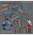 Collection of hand drawn blacksmith icons vector image vector image