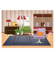 colorful interior of living room furnished in old vector image vector image