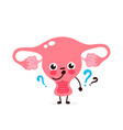 cute uterus with question mark character vector image vector image