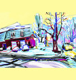 digital painting of winter magic village landscape vector image vector image