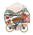 Flat of downhill bicycle in europe vector image vector image