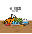 fruits and vegetables with protein food vector image vector image