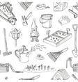 Garden tools seamless pattern Various equipment vector image vector image
